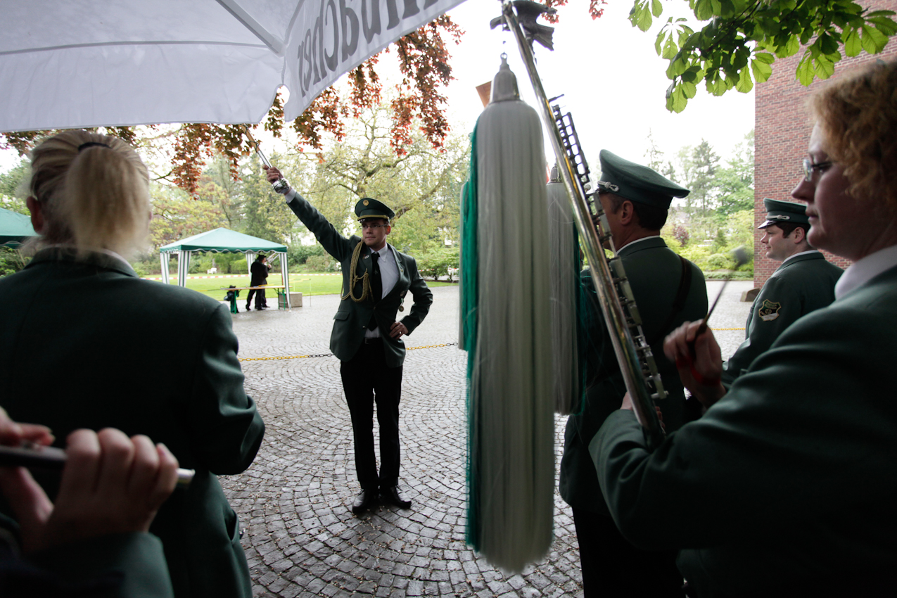 Der Spielmannszug der Schützenbruderschaft St.Mauritz-Erpho beim Königschießen der Pluggendorfer Schützengesellschaft von 1810 e.V. in Münster, Westfalen.