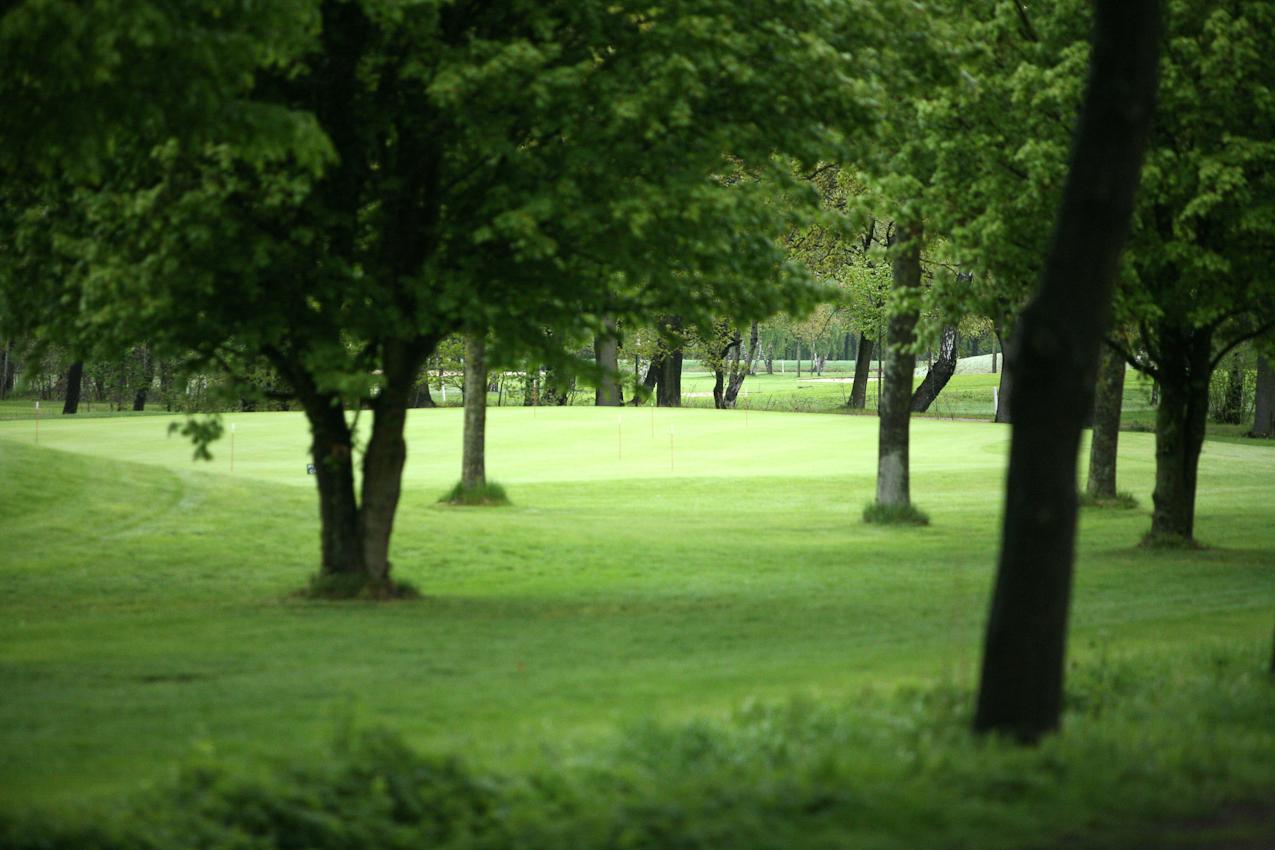 Dies ist eine Aufnahme, die die Landschaft des Golfparks in Heinhaus zeigt. Die Betreiber legen wert auf einen alten Baumbestand und einen äußerst gepflegten Rasen. Werktags arbeiten bis zu fünf Greenkeeper für dieses Ergebnis. Die Aufnahme wurde am 07.05.2010 um 12.04 gemacht.
