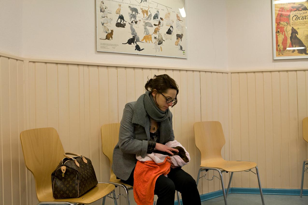 Ein Tag mit Michi und Janni, 7.05.2010, Berlin- Janni wartet am Vormittag in der Tierarztpraxis Foerster in Berlin-Tiergarten. Dackelwelpe Carl bekommt heute seine dritte Impfung.