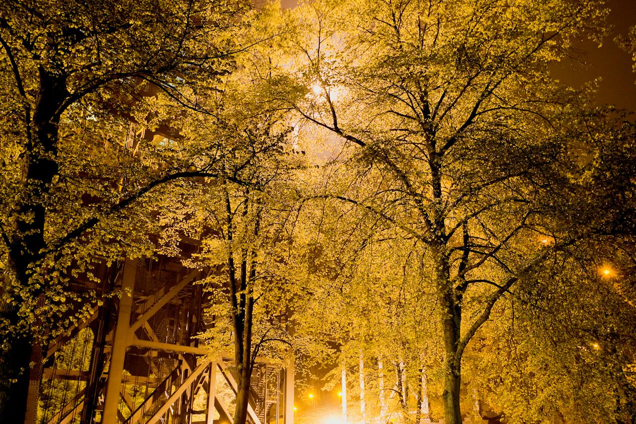 Nachtstimmung am Schiffshebewerk Niederfinow/Brandenburg.