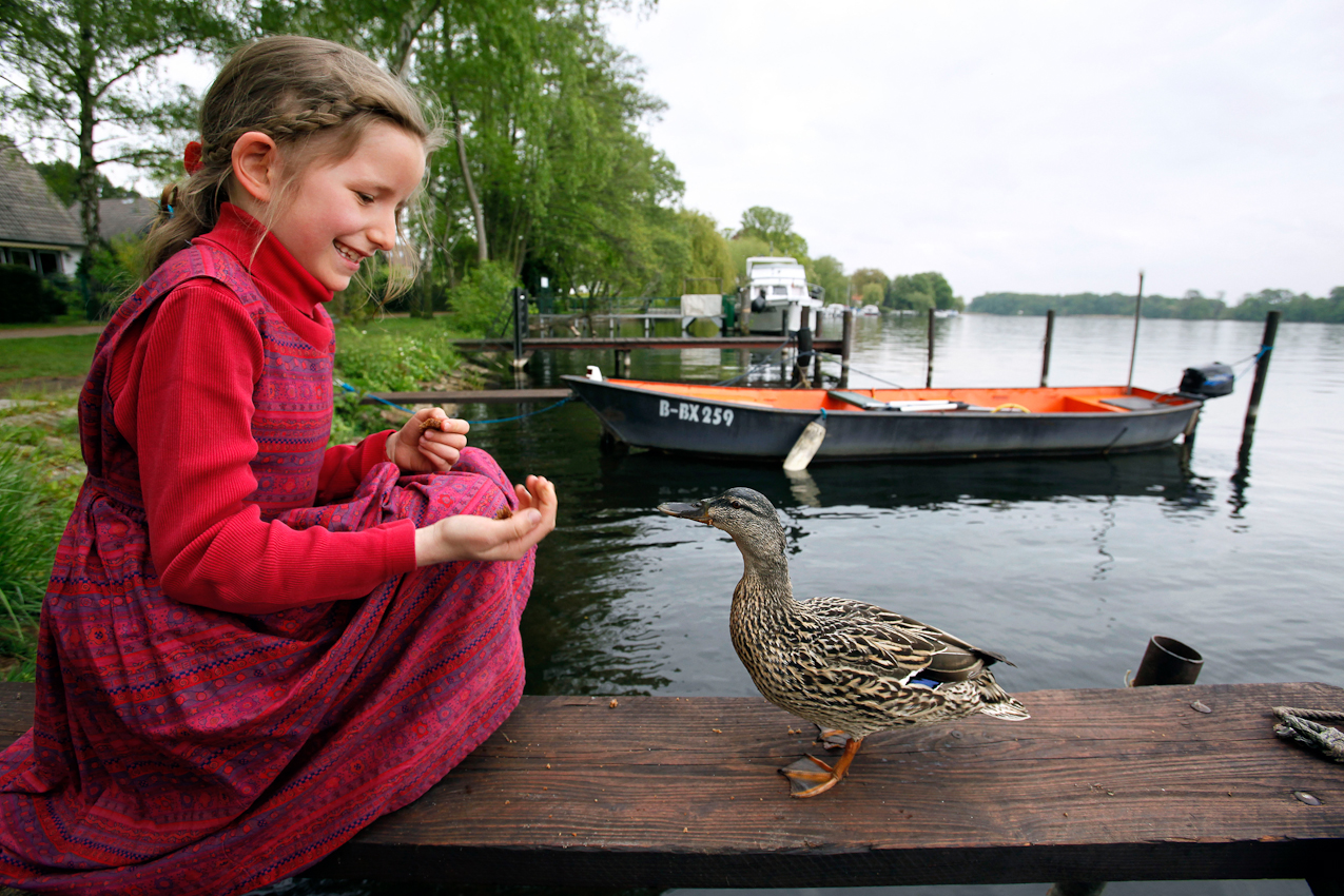 18:03 Uhr: Bevor sie mit ihrer Familie fürs Wochenende auf die Insel Valentinswerder im Tegeler See übersetzt, wird die achtjährige Kaya am Steg in Tegelort Berlin von einer Stockente begrüßt, der sie die Kruste ihres Pausenbrotes mitgebracht hat.